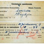Potwierdzenie zameldowania - 1947r.